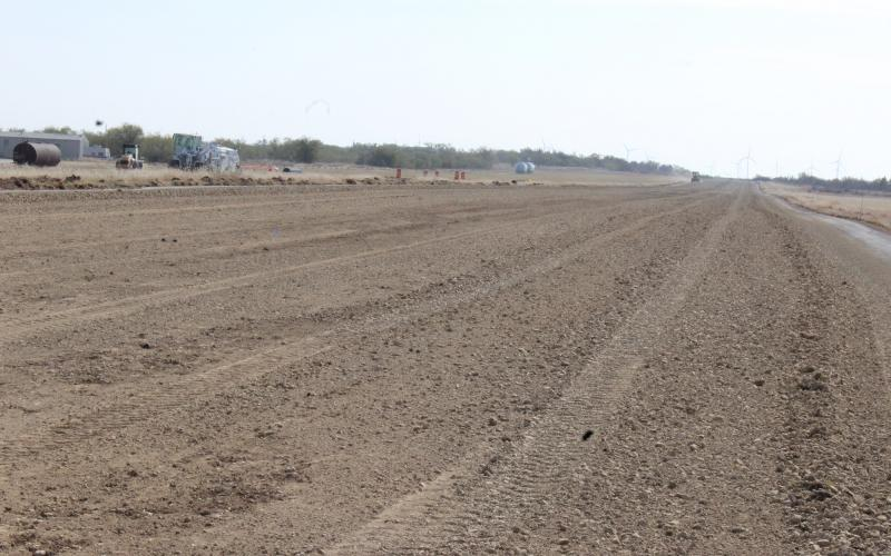 The Jacksboro Municipal Airport runway is milled and nearly ready for stabalizing. The airport pavement is being improved through a grant from the Texas Department of Transportation.