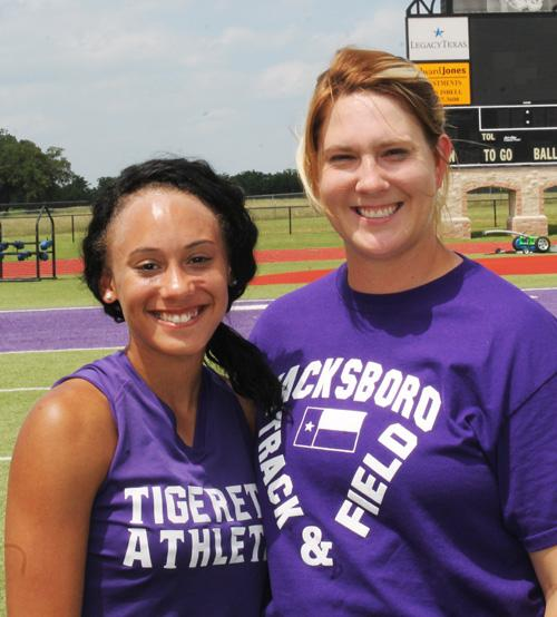 Jacksboro's Kaylea Maples, with coach Karen Adkins, will be looking for a strong showing in the triple jump Friday morning at the State Track and Field Meet