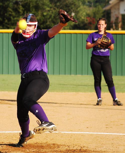 Maylan Armstrong lets a pitch go during the Tigerettes' win over Springtown June 30.