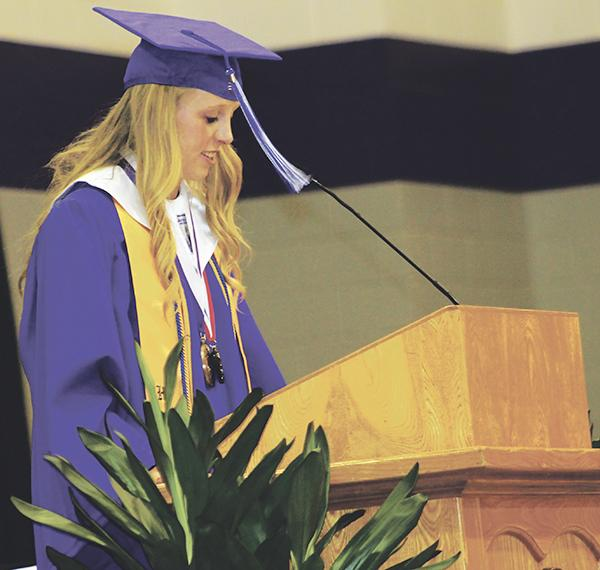 Bayley Richardson gives the valedictory address at Jacksboro's graduation.