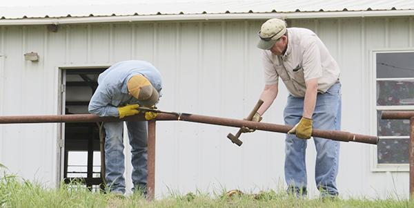 Steven James and Jim Smith remove pipe fence from around the building.  Courtesy / Star Kinder