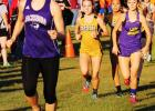 Freshman Baylee Thompson leads the pack at Saturday's cross country meet